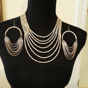 💎💎Rhinestone 7 Strand Gold Tone Necklace Set